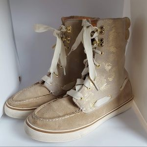 Sperry top-sider tan gold leather high tops 8M